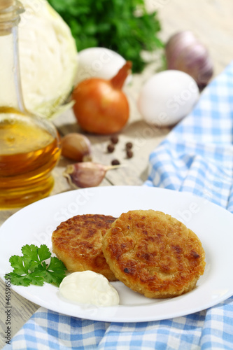 Cabbage burgers and ingredients for cooking