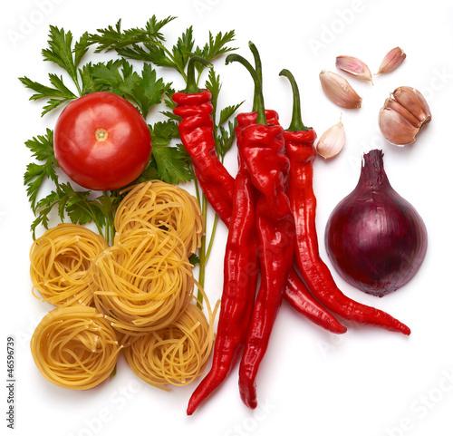 Italian pasta with tomato, onion, herbs, garlic, peppers.