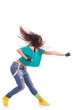 woman modern dancer punching