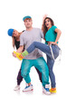 two women and a man fooling around