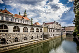 Central Market overlooking the canal, Ljubljana, Slovenia