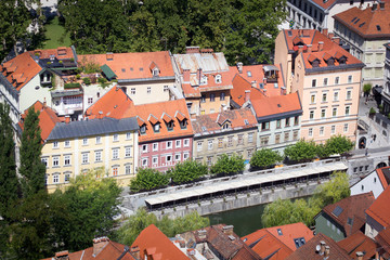 Top view of the old town of Ljubljana, Slovenia.