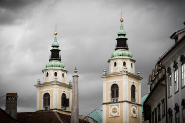 Twin towers of Ljubljana Cathedral, Slovenia.