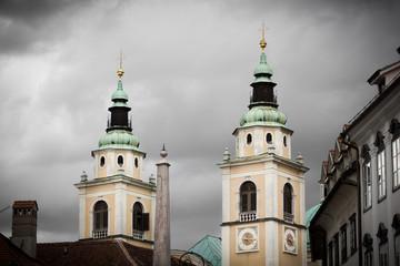 Twin towers of Ljubljana Cathedral, Slovenia.