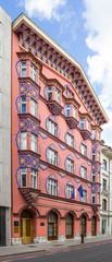 Facade of the Cooperative Bank Building, Ljubljana.