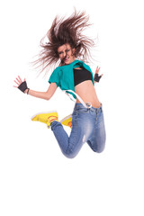 woman dancer jumping and screaming