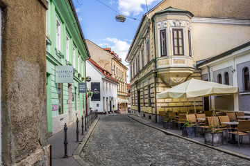 Typical alley of Ljubljana, Slovenia.