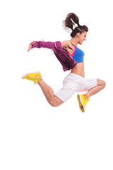 hip hop woman dancer jumping