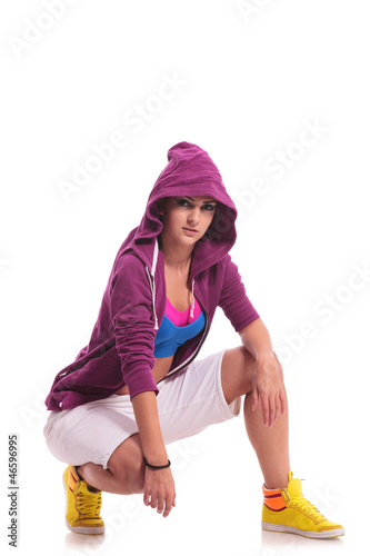 crouched hip hop woman dancer