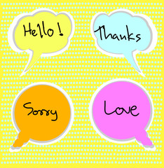 Hello, Thanks, Sorry, Love - grateful bubbles message