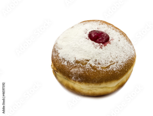 Donut with jam over white