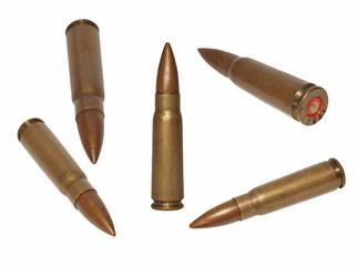 Set  ak-47 bullet,  isolated on white background