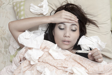 Woman having high fever