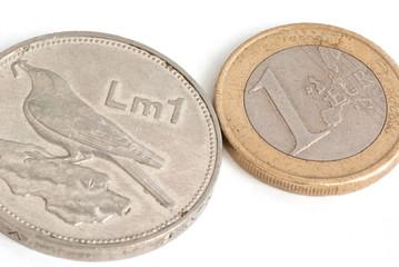 maltese lira and euro coins