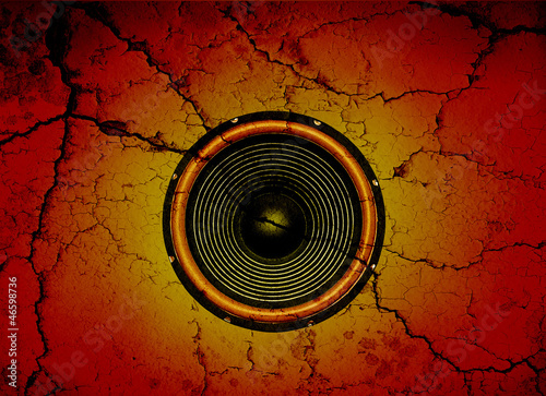 canvas print picture Speaker on a cracked wall background