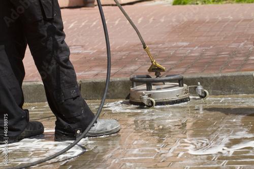 Leinwanddruck Bild paving cleaning
