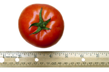Red Tomato and Ruler on White Background