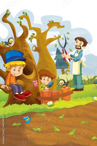 Foto op Canvas Boerderij The happy kids having fun in the vegetable garden