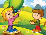 Kids sightseeing - illustration for the children