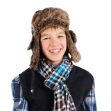 Portrait of teenager wearing fur hat