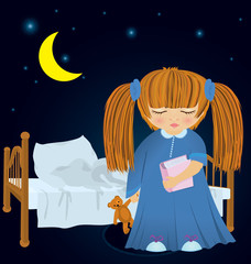 Cartoon sleepy girl near bed vector