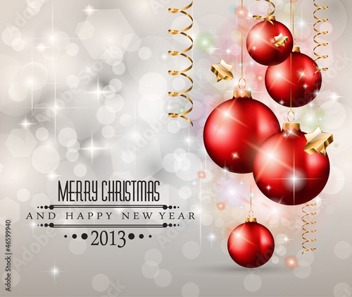 Elegant Classic Christmas Background wit red baubles