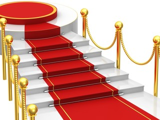 Ladders with red carpet