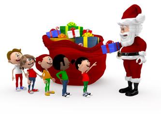 3D Santa giving Christmas presents