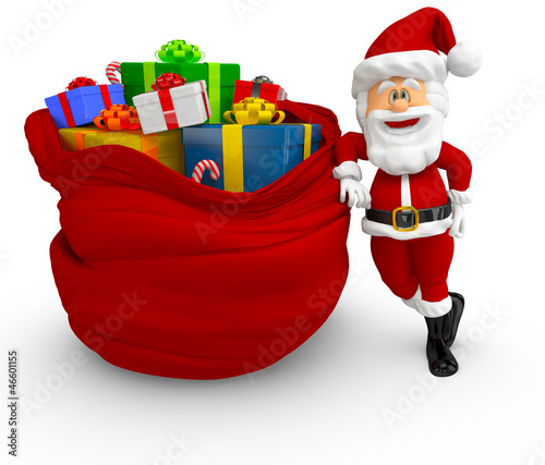 3D Santa with a bag of presents
