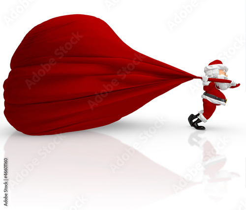 3D Santa carrying a heavy gift sack