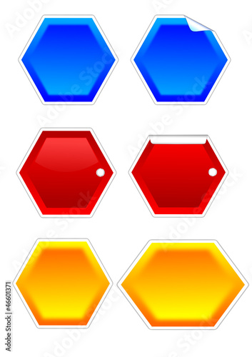 Hexagons as colored labels with bent corners