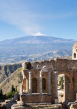 Ancient greek roman theater in Taormina - Sicily