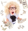 Lottery winner concept, funny  woman with dollar bills
