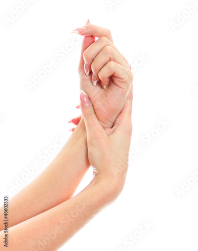 Close up view of female hands. Isolated on white.
