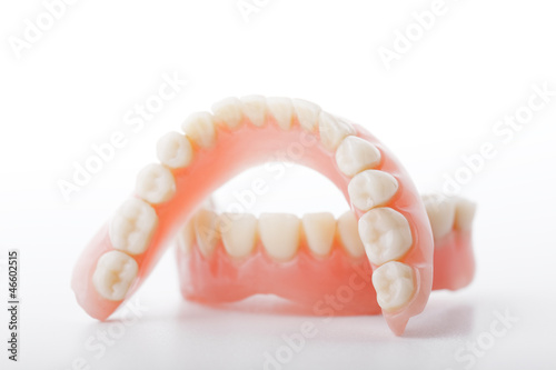 Leinwanddruck Bild medical denture smile jaws teeth on white background