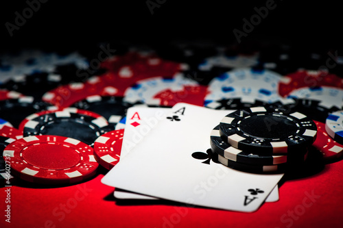 Poster Pair of aces and poker chips