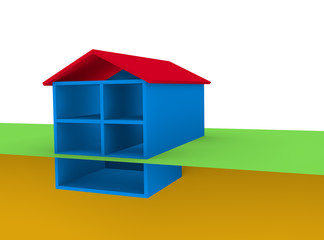symbolic model two story home with basement
