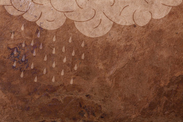 rain background, illustration on old paper surface
