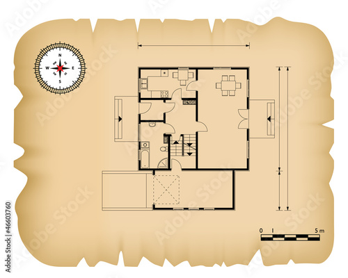 old paper with black house blueprint