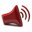 Red stylized speaker icon 3d