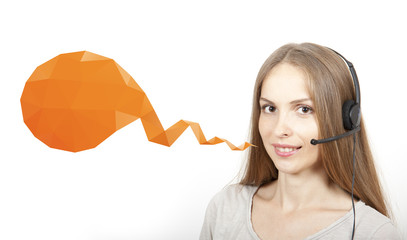 Call Center Woman with Headset, and Speech Bubble