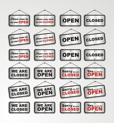 open sign and closed sign silver style