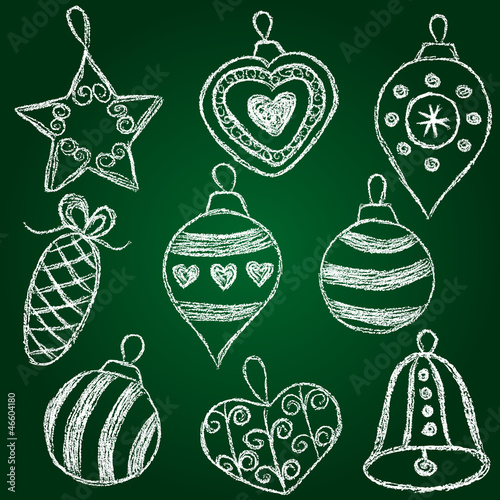 Christmas decorations  - chalk on schoolboard