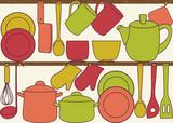 Kitchen utensils on shelves - seamless pattern