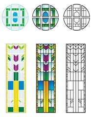 Traditional stained glass designs, typical of private residences