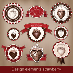 Strawberry. Stickers, icons, stamps. vector