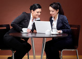 Two 20s business women with laptop and coffee 2 poster