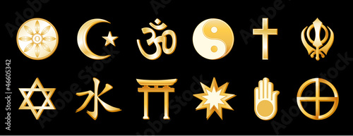 World Religions, symbols of international faiths, gold icons