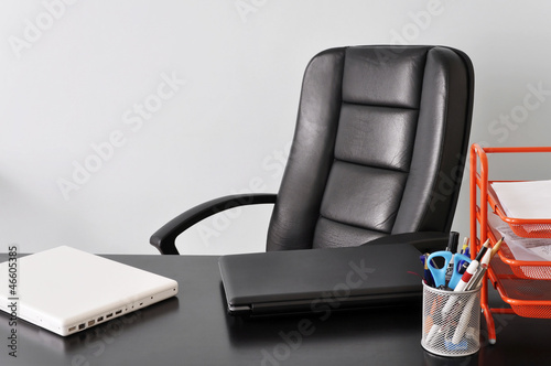 Desk with two laptops