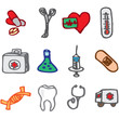 medicine and clinic hand drawn icons in vector